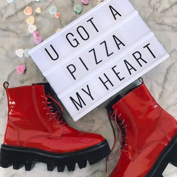 40cae6ed0e6 Jeffrey Campbell Shoes | Red Jc Patent Leather Combat Boots | Poshmark